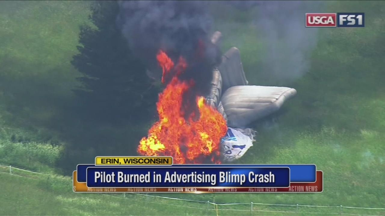 Pilot in U.S. Open blimp crash seriously burned