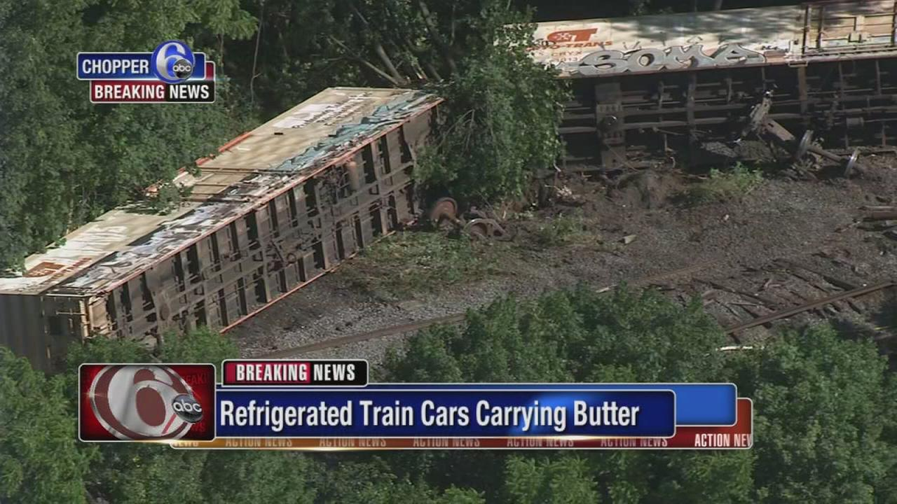 VIDEO: Train cars derail in Sellersville, Pa.