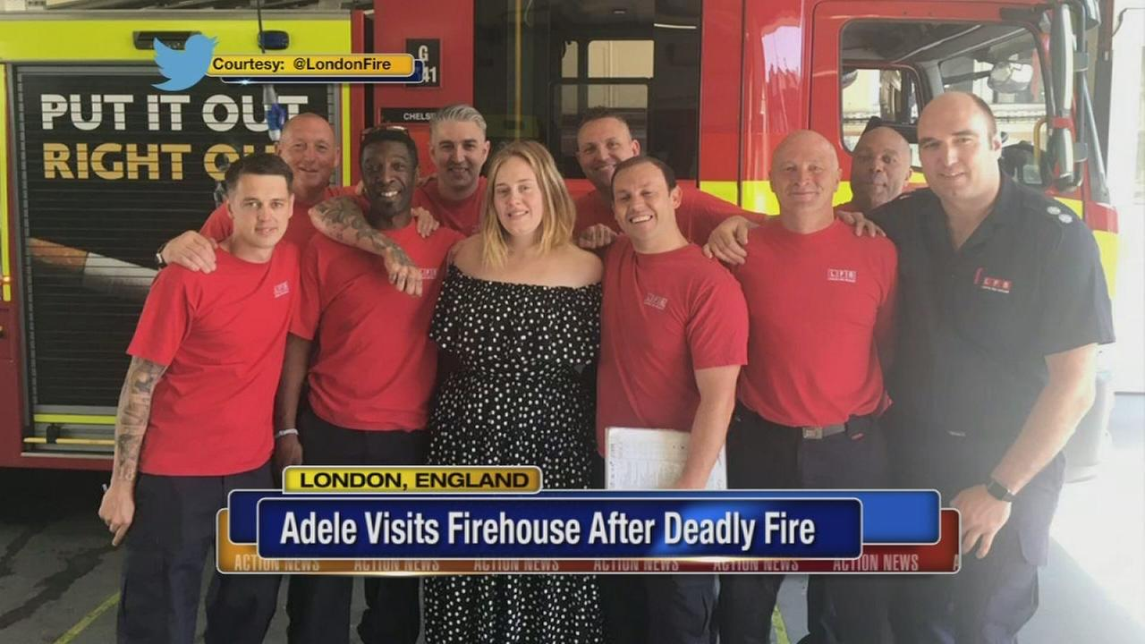 Adele visits London firefighters after deadly tower blaze