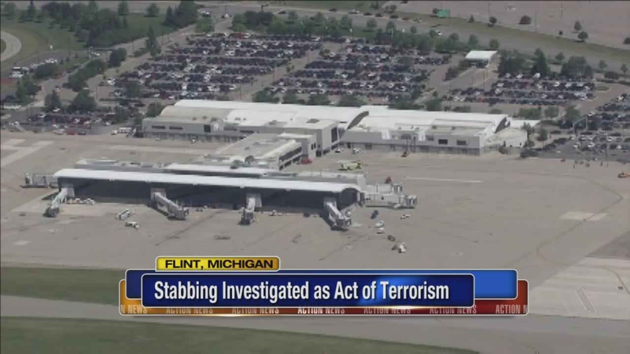 Official: FBI looking at terrorism in Flint airport stabbing
