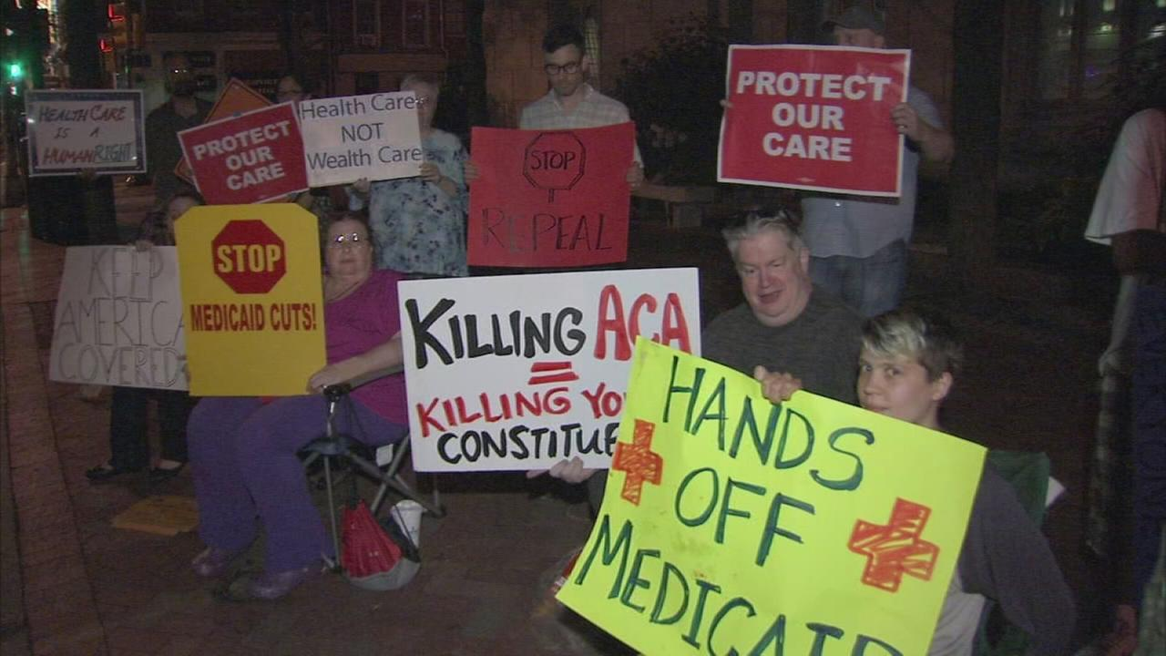 Folks protest proposed Senate Republican health care bill
