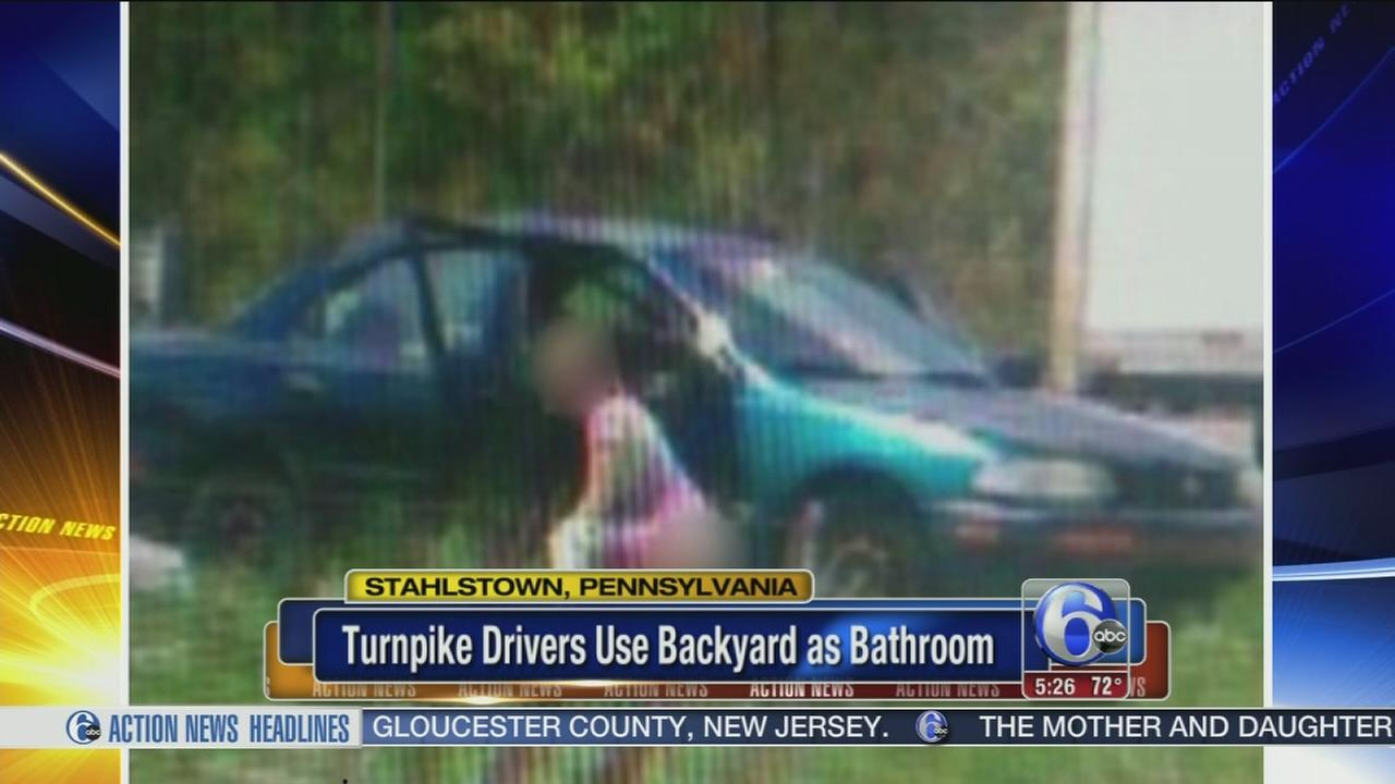 VIDEO: Turnpike drivers use womans backyard as bathroom