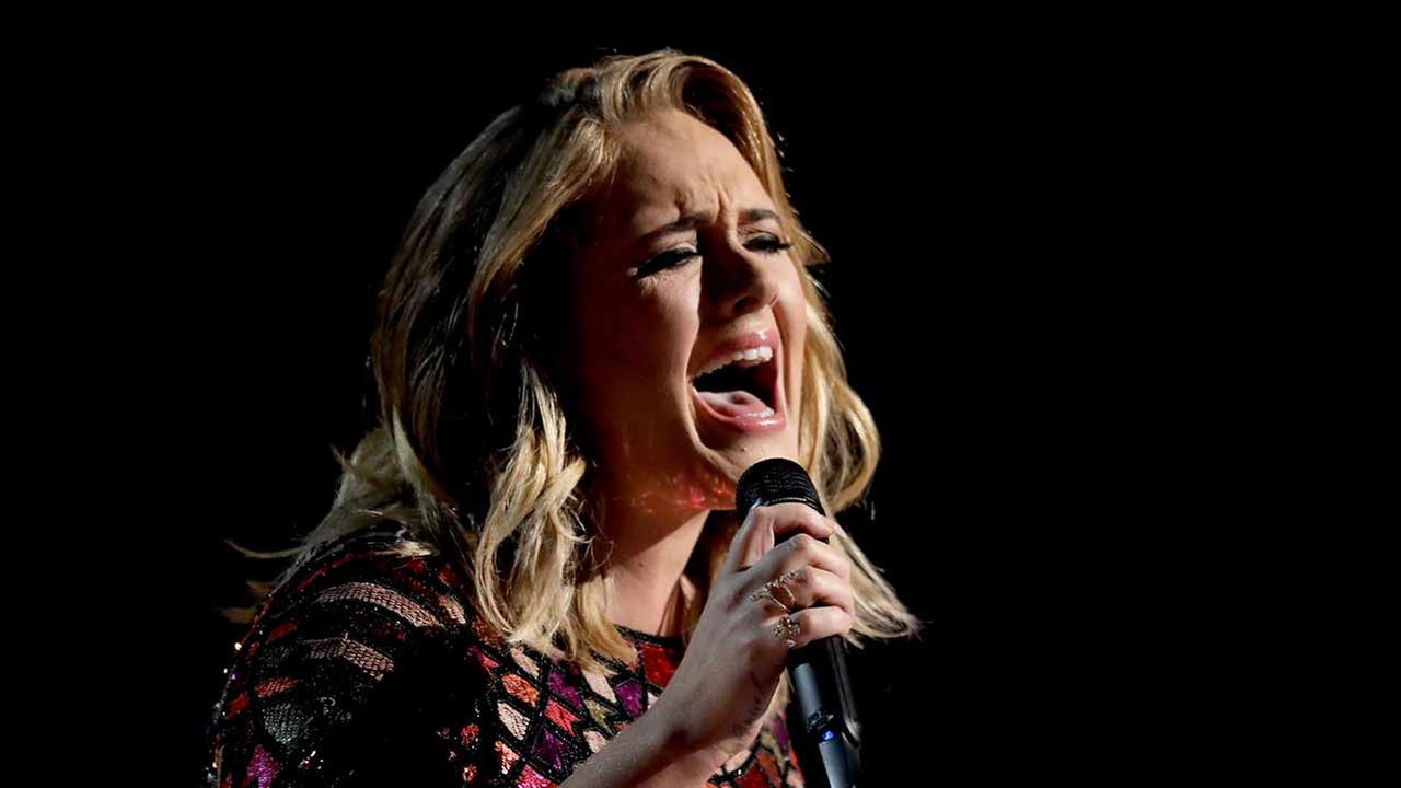 In this Feb. 12, 2017, file photo, Adele performs Hello at the 59th annual Grammy Awards in Los Angeles.