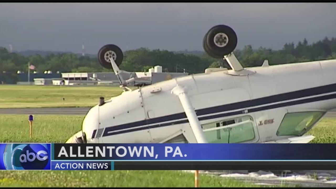 Plane flipped during storm in Lehigh Valley