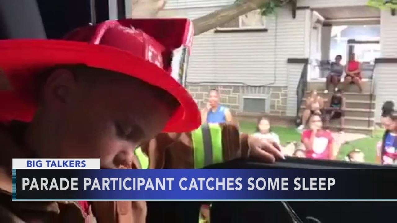 Delco toddler falls asleep in firetruck during July 4th parade