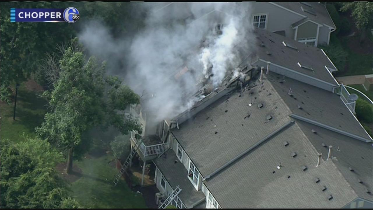 Firefighter injured in 2-alarm building blaze in  Burlington Co.