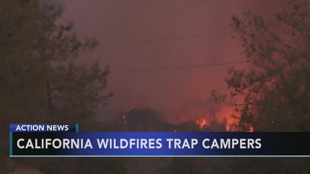 California wildfires trap campers