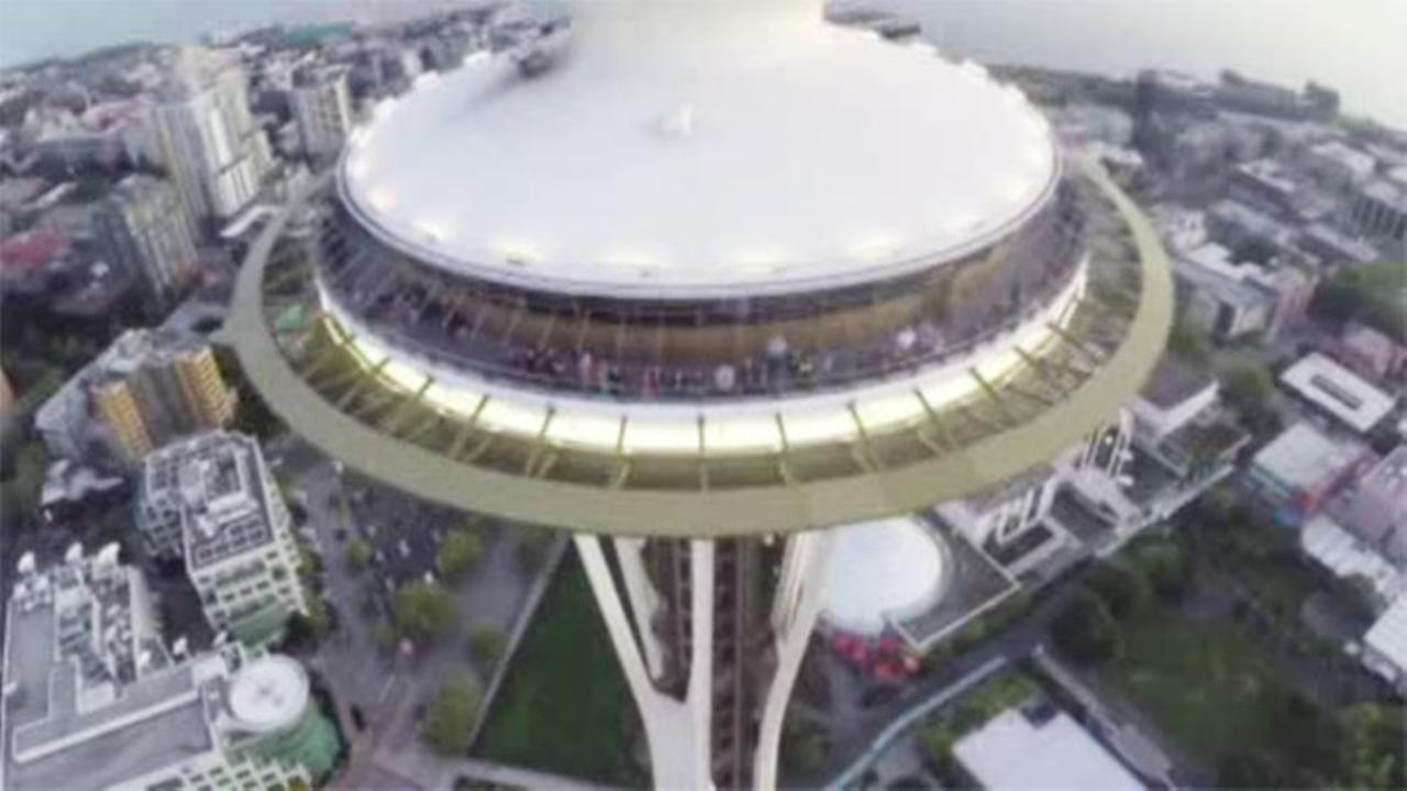 Drone buzzes Seattle Space Needle
