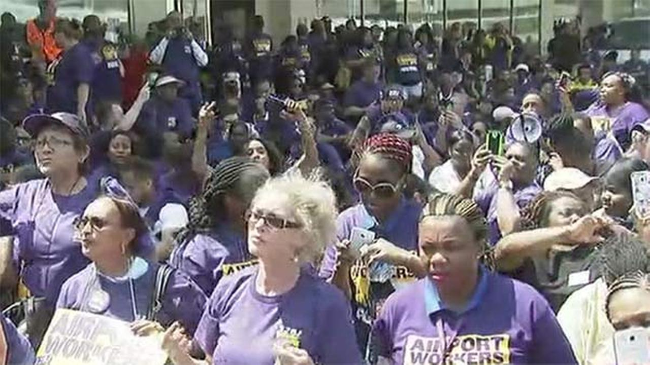 Area airports hit by workers strike; Philadelphia Int'l also targeted