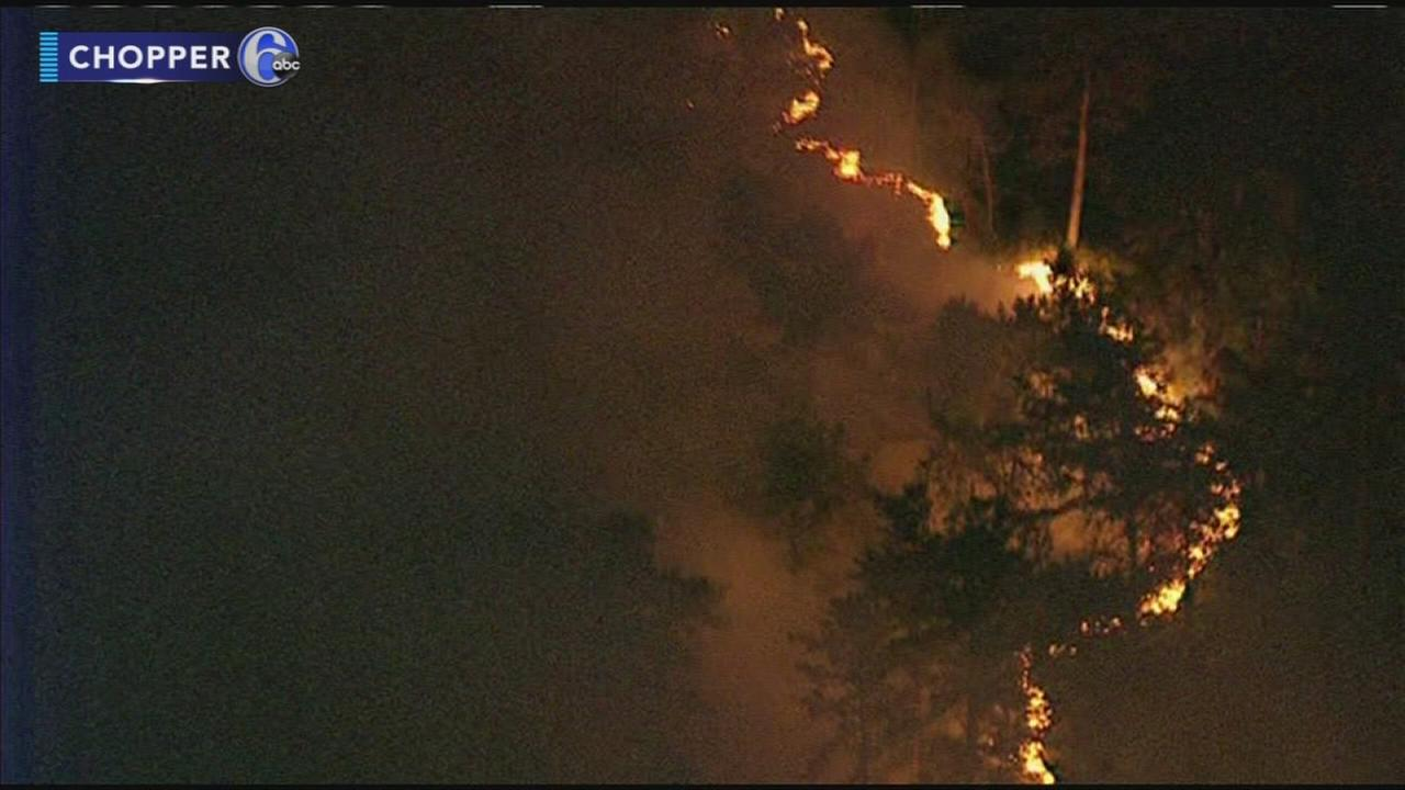 Forest fire burns in Burlington County