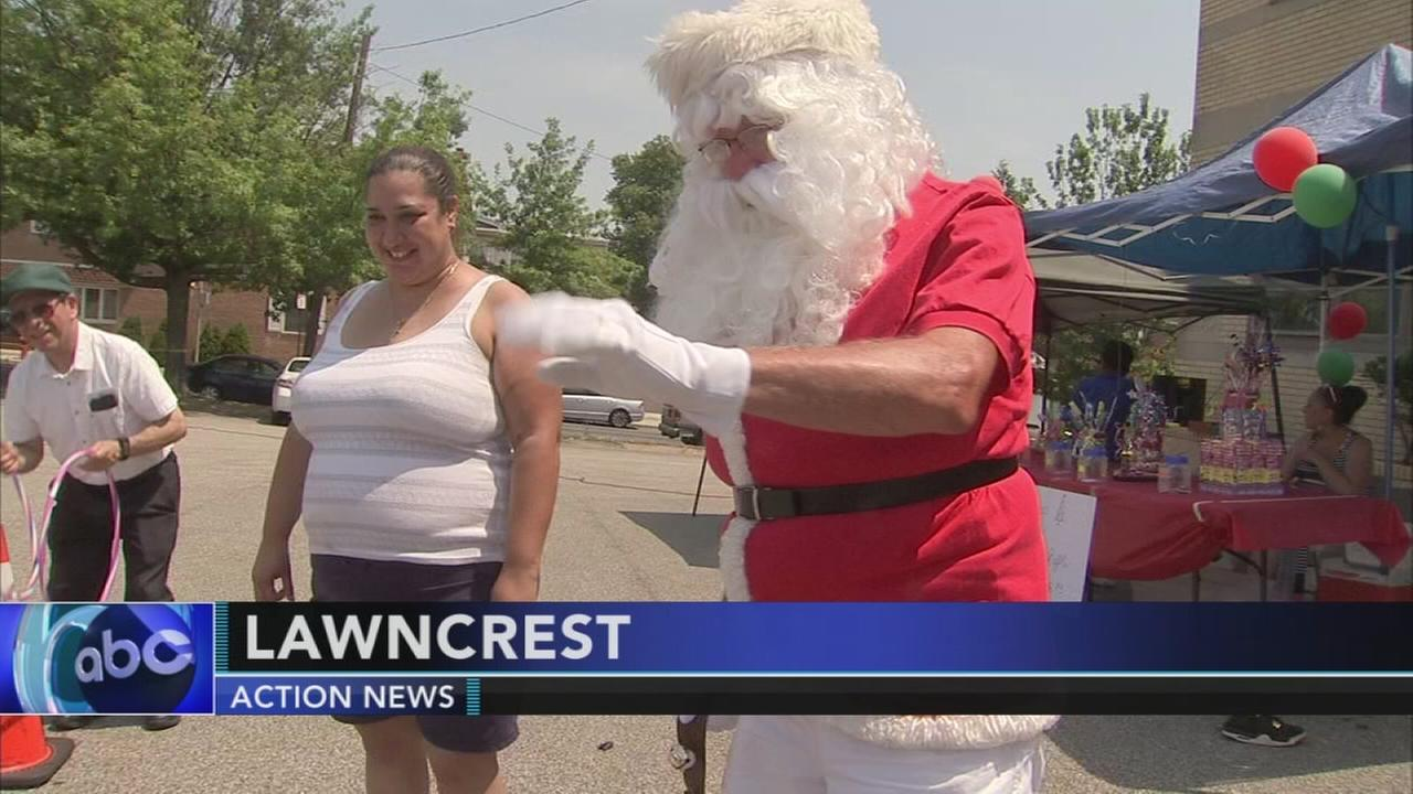 Christmas in July celebration in Lawncrest section of Philadelphia
