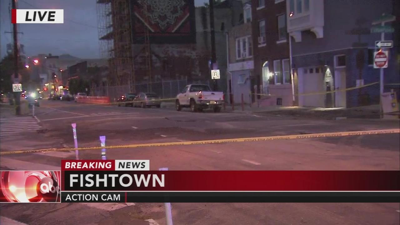 Water main break in Fishtown
