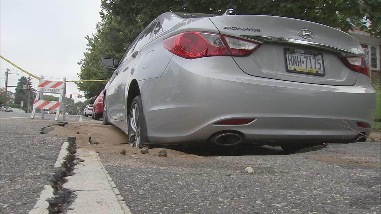 Sinkhole opens in West Oak Lane