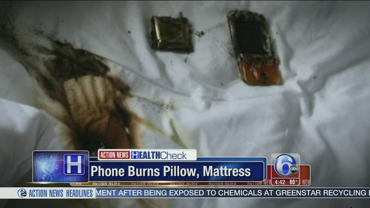 VIDEO: Red-hot phone burns through girls mattress