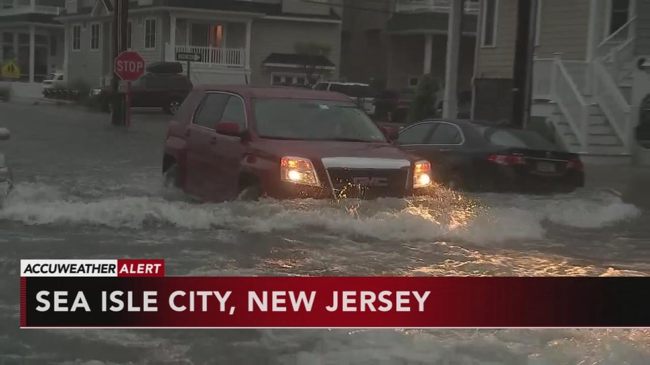 Streets flood after heavy rain at Jersey shore