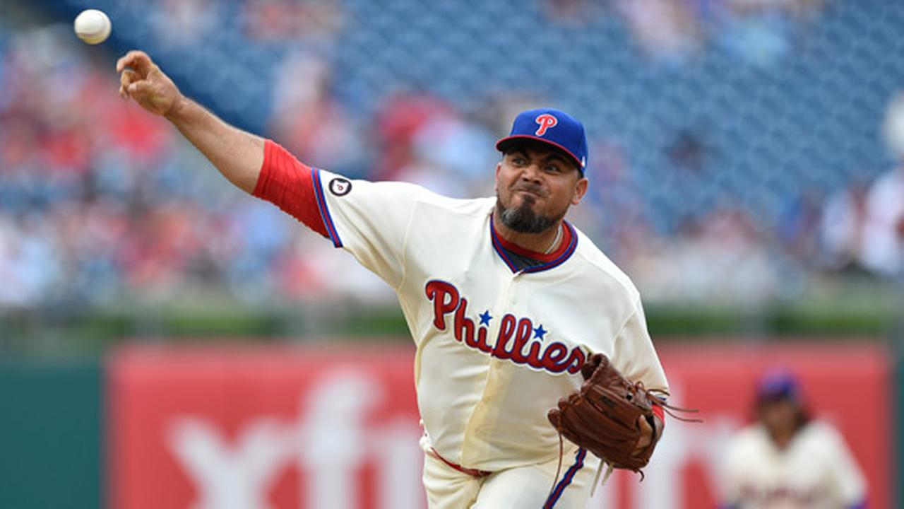 Philadelphia Phillies Joaquin Benoit in action during a baseball game against the Milwaukee Brewers, Sunday, July 23, 2017, in Philadelphia.