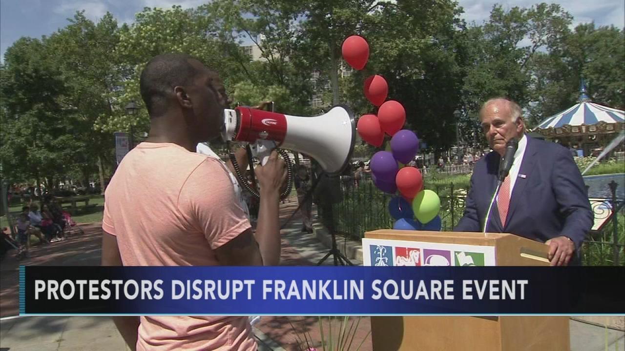 VIDEO: Protesters disrupt Franklin Square event