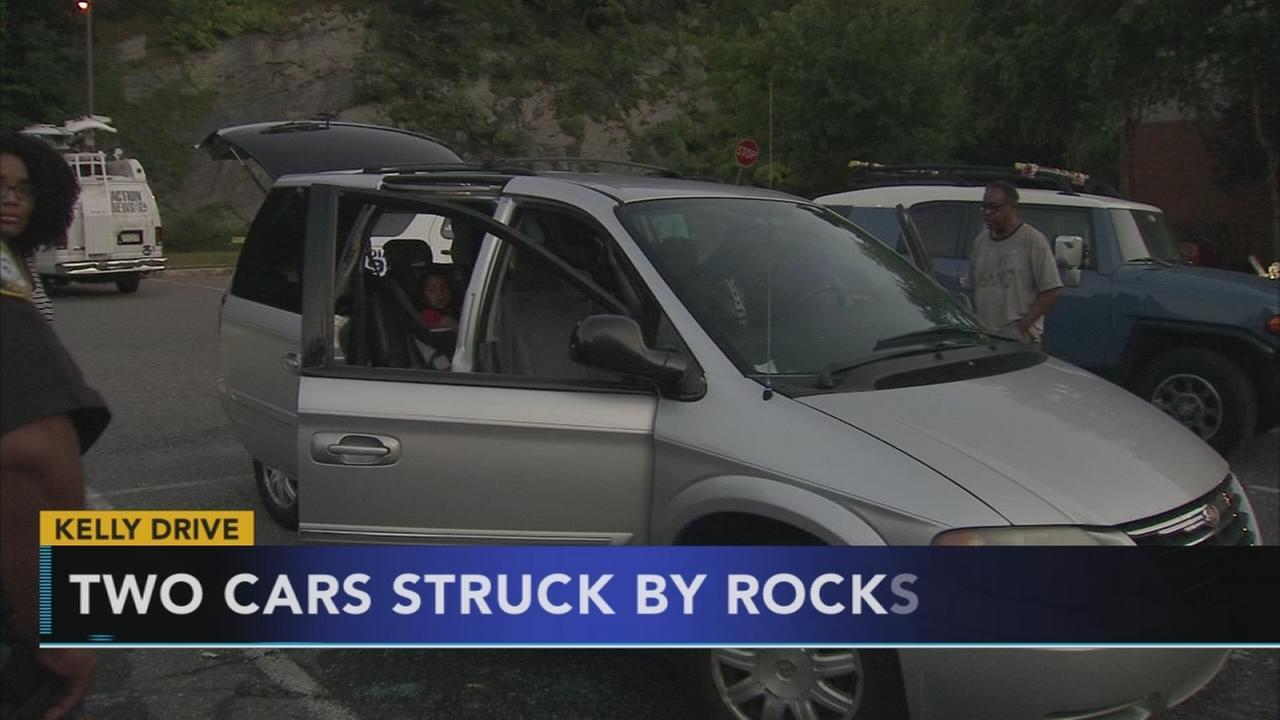 VIDEO: 2 cars struck by rocks on Kelly Drive