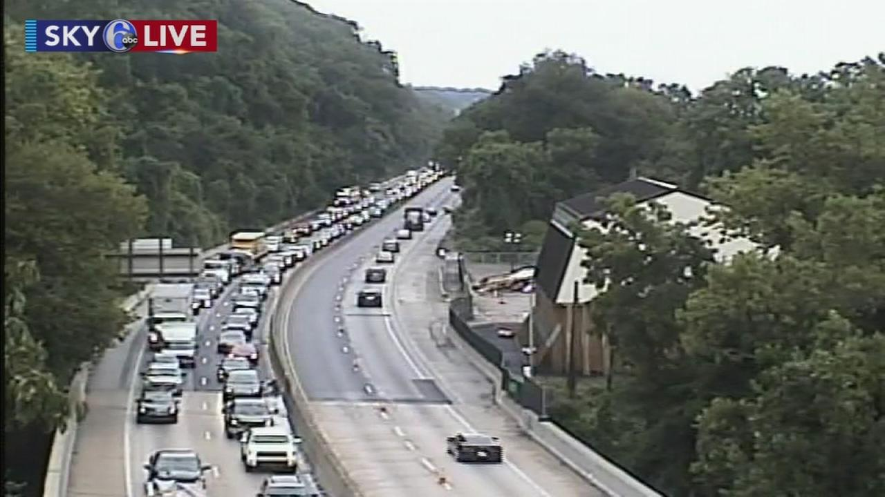 Flooding jams traffic on I-76