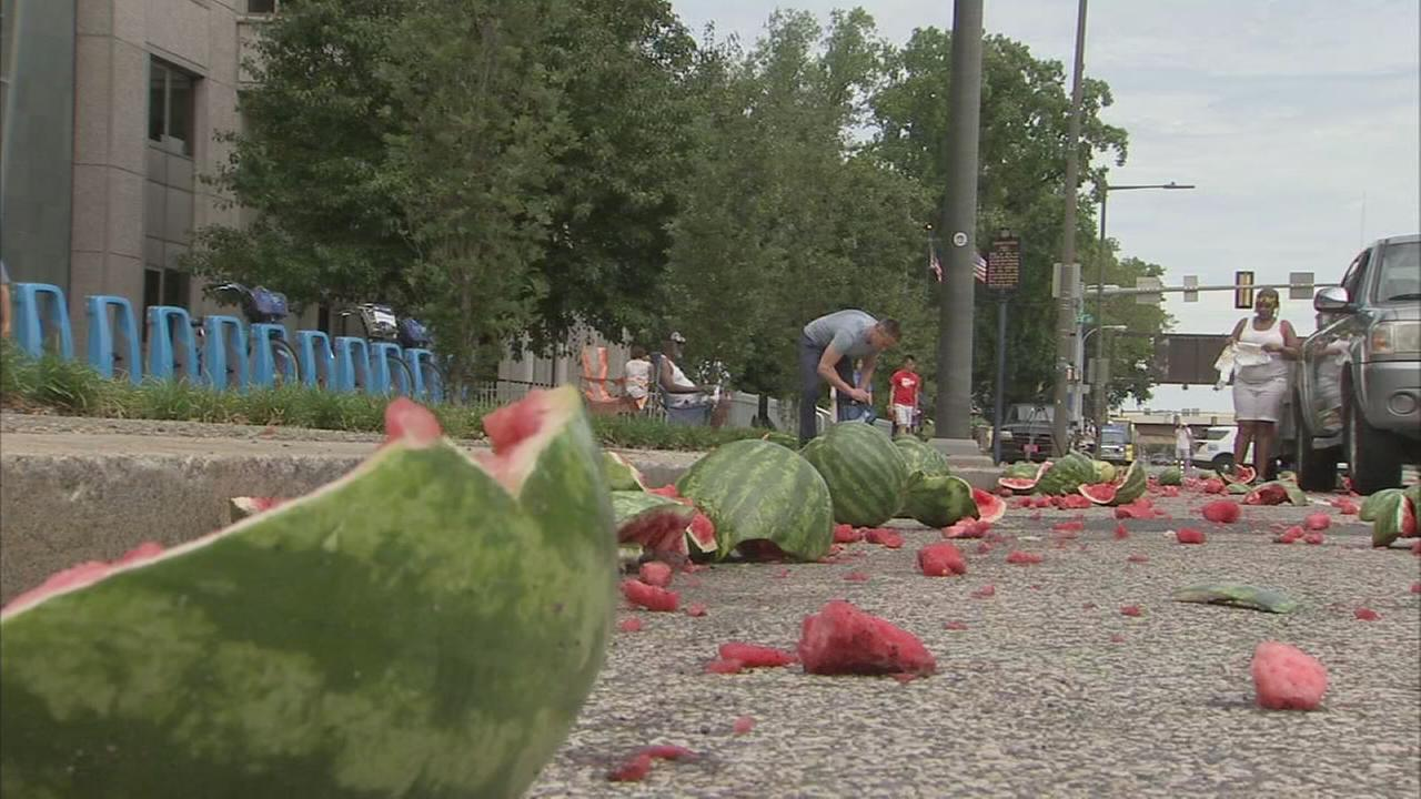 Truck spills watermelons all over Center City street
