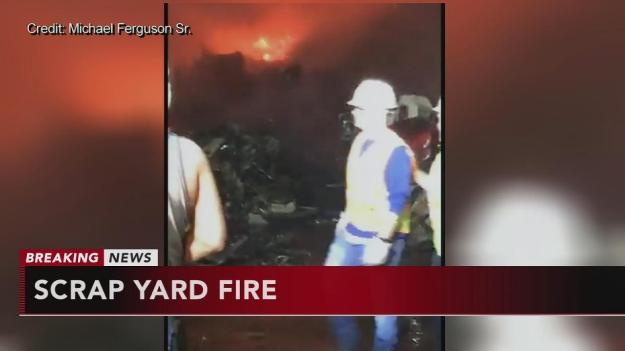 Firefighters battle scrap yard blaze in Bucks County