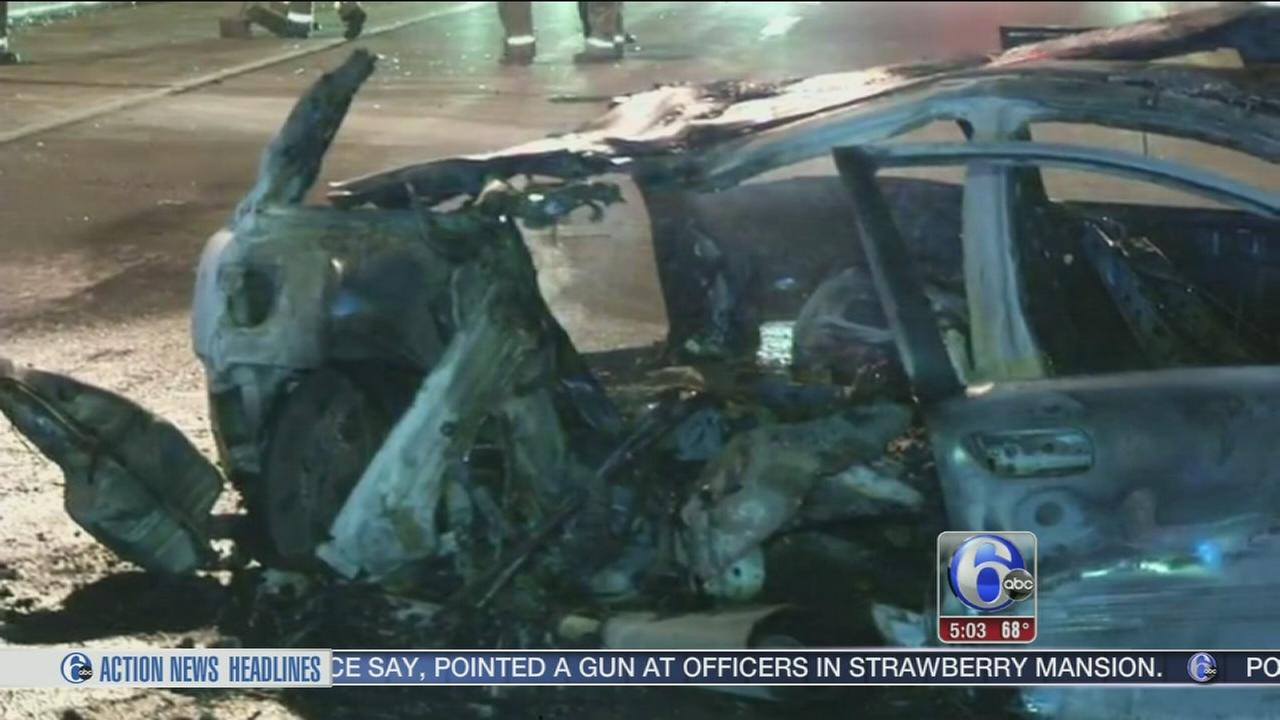 VIDEO: 3 injured in fiery crash on I-95 in Wilmington