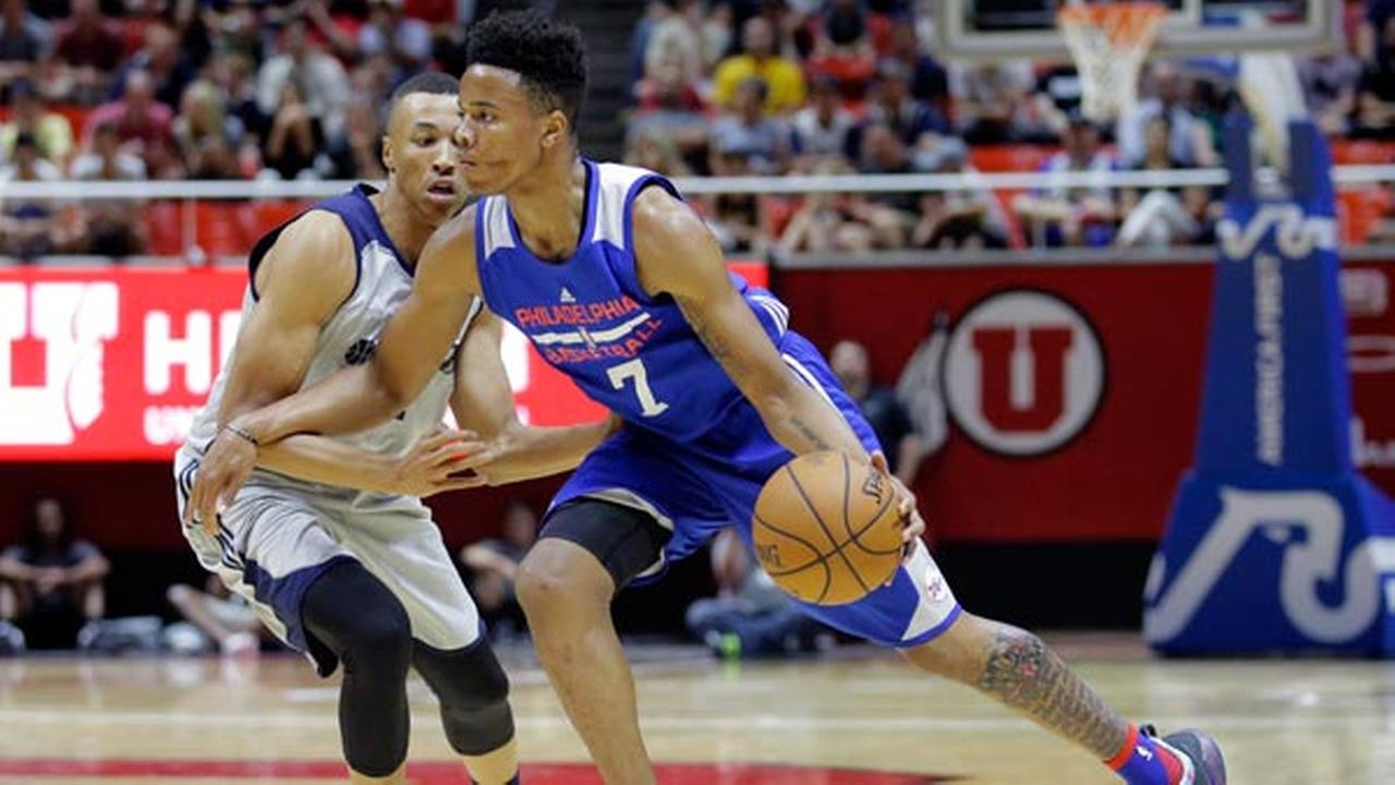 Philadelphia 76ers guard Markelle Fultz (7) drives around Utah Jazz guard Dante Exum during the first half of an NBA summer league basketball game Wednesday, July 5, 2017.