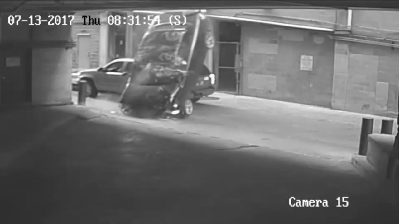 VIDEO: Car plunges 7 stories from parking garage
