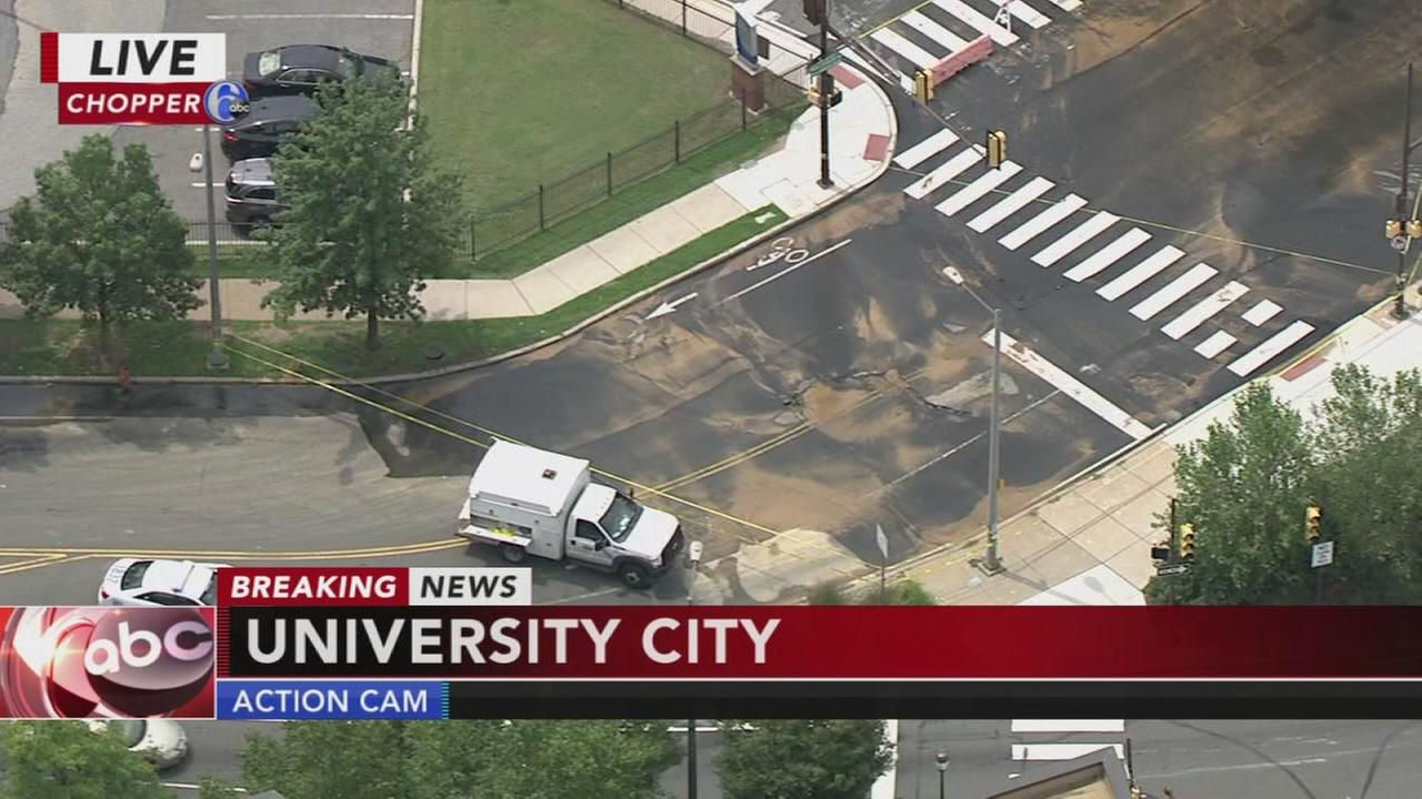 Driver smashes into fire hydrant in University City