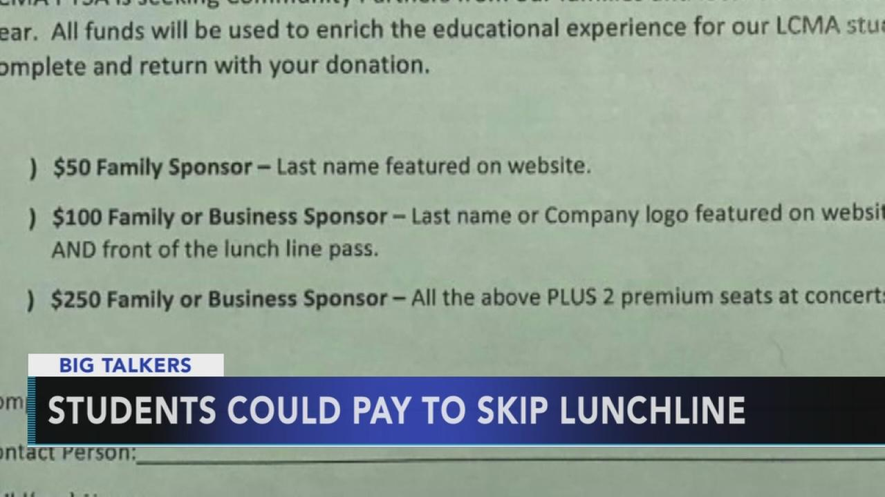 VIDEO: Students could pay to skip lunchline