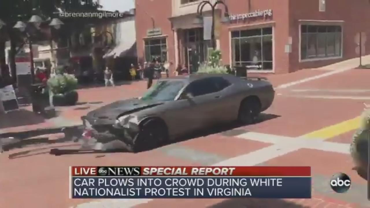VIDEO: Car plows into crowd during white nationalist protest