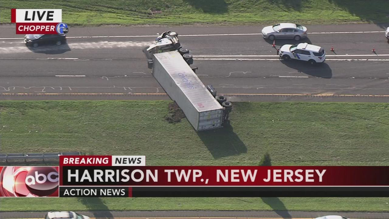 Tractor trailer overturns on Route 55