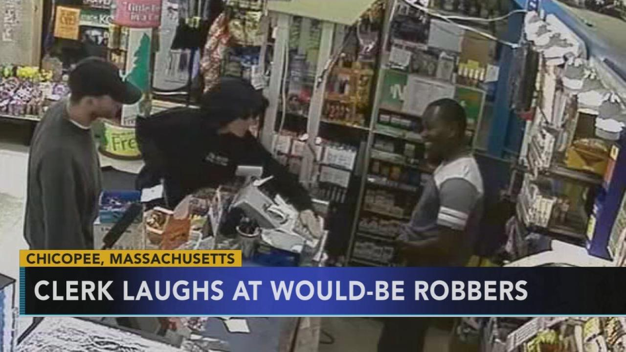 New England store clerk laughs at would-be robbers
