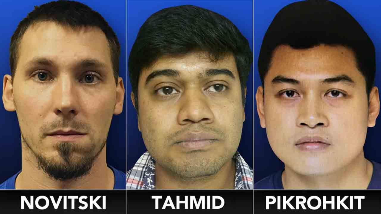 William Novitski, Nafiz Tahmid and Apithai Pikrohkit were arrested in a sting operation targeting sexual predators online.