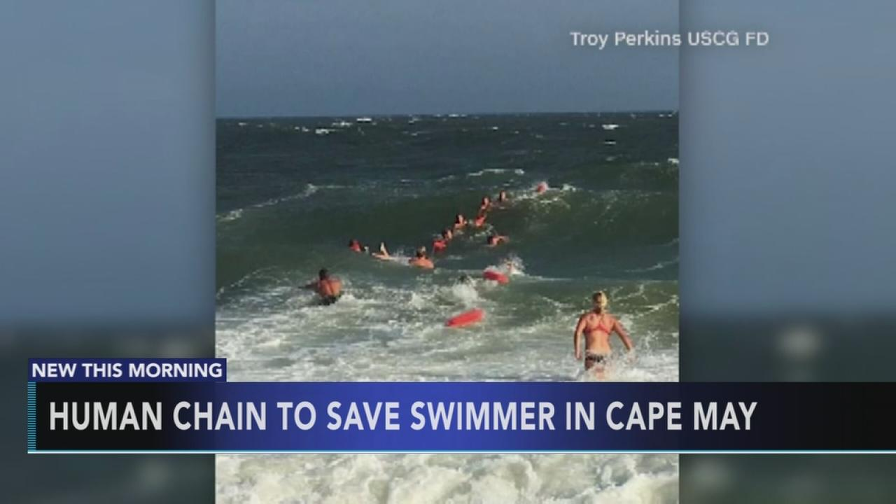 Human chain formed to save Cape May swimmer