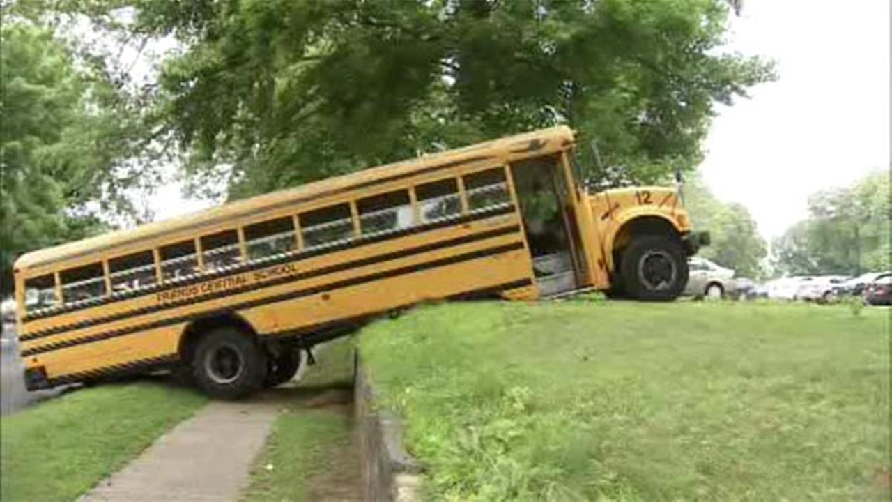 School bus gets caught on ledge in Wynnewood
