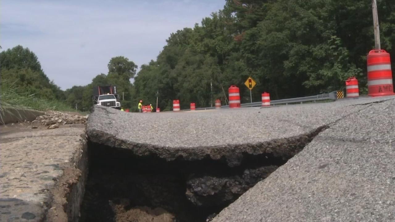 Water main break damages street in New Castle County