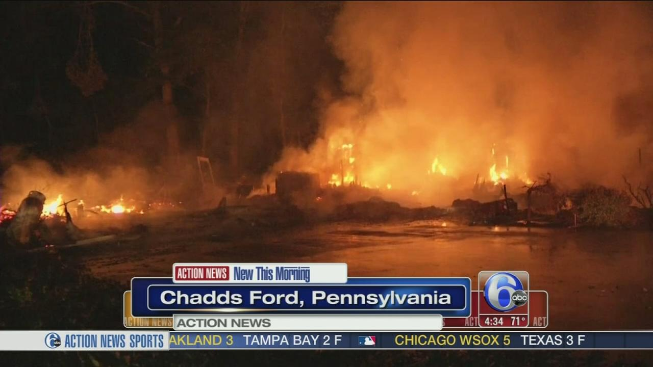 VIDEO: Home goes up in flames in Chadds Ford, Pa., family on vacation