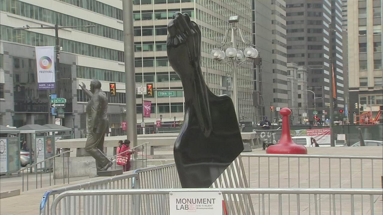 Sculpture of afro pick goes up near Frank Rizzo statue