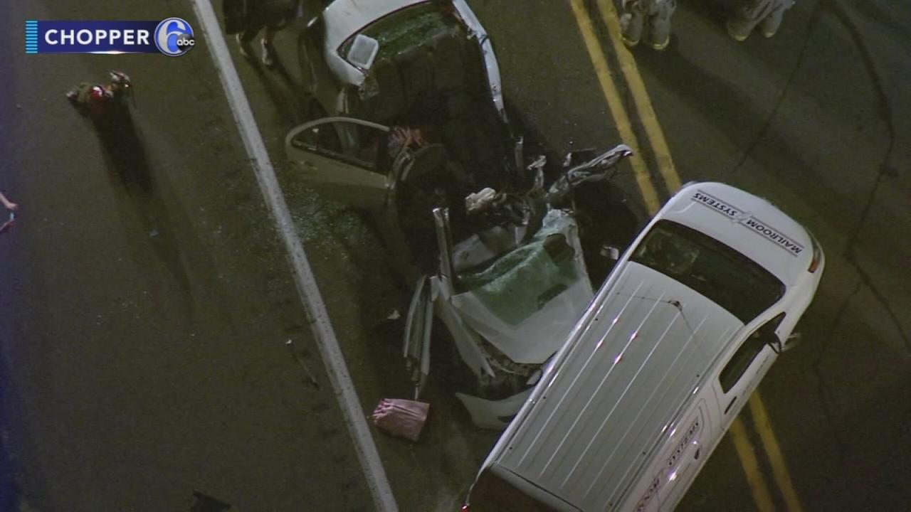 1 hurt after car and minivan collide in Bucks County