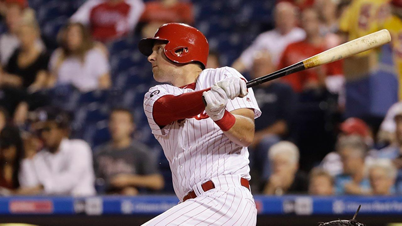 Phillies Rhys Hoskins follows through on a two-run home run off Miami Marlins starting pitcher Vance Worley, Thursday, Sept. 14, 2017 in Philadelphia.