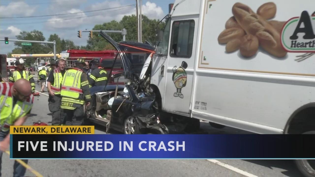 Five injured, including baby, in Newark, Del. crash