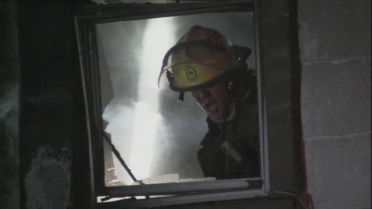 Firefighters battle house fire in West Oak Lane