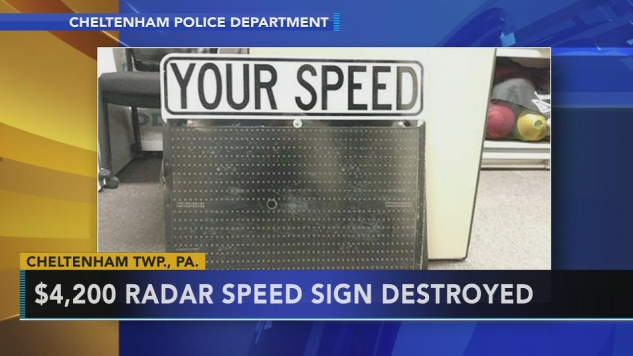 Police seek driver who damaged pricey sign in Cheltenham: Brian Taff reports on Action News at 4:30 p.m., September 20, 2017