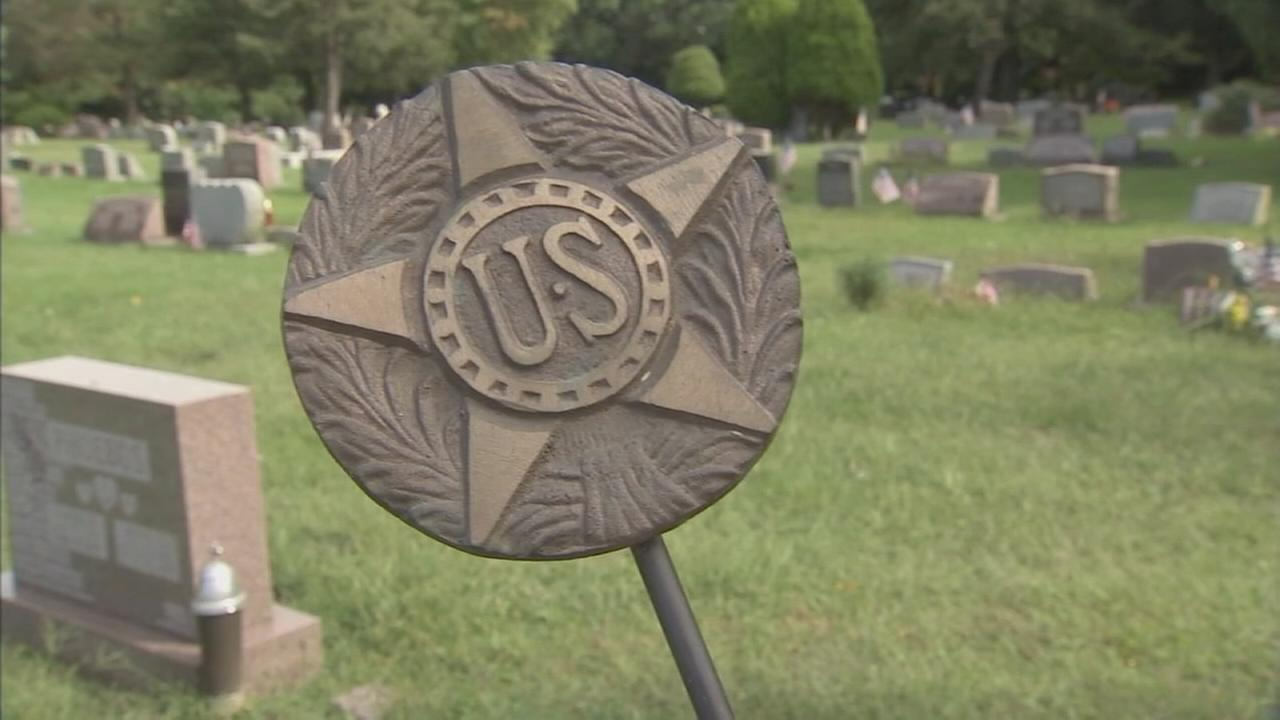 Hundreds of bronze flag holders stolen from the graves of veterans: Nora Muchanic reports on Action News at 6 p.m., September 20, 2017