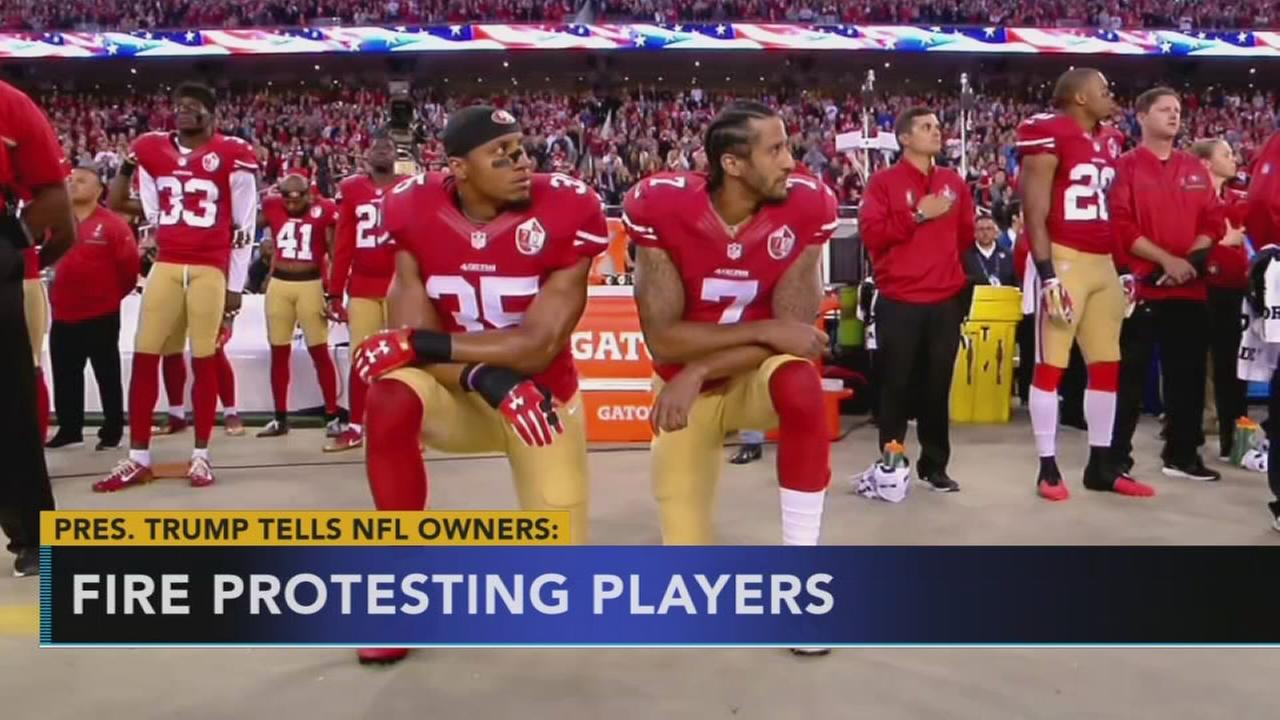 Trump says protesting players in NFL should be fired