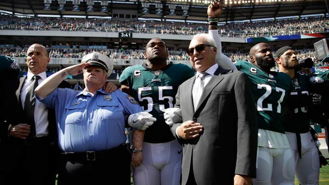 Philadelphia Eagles owner Jeffrey Lurie stands during the national anthem before an NFL football game against the New York Giants, Sunday, Sept. 24, 2017, in Philadelphia.