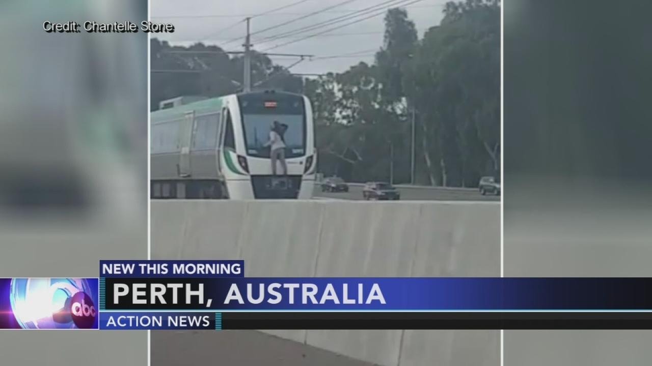 Train-surfing man arrested in Australia