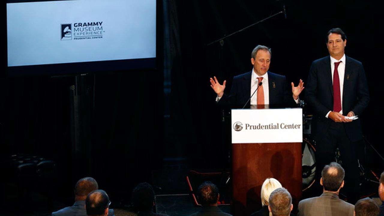 Josh Harris, left, and David Blitzer appear during a news conference announcing Prudential Center as host of the Grammy Museum Experience, Tuesday, Feb. 7, 2017.