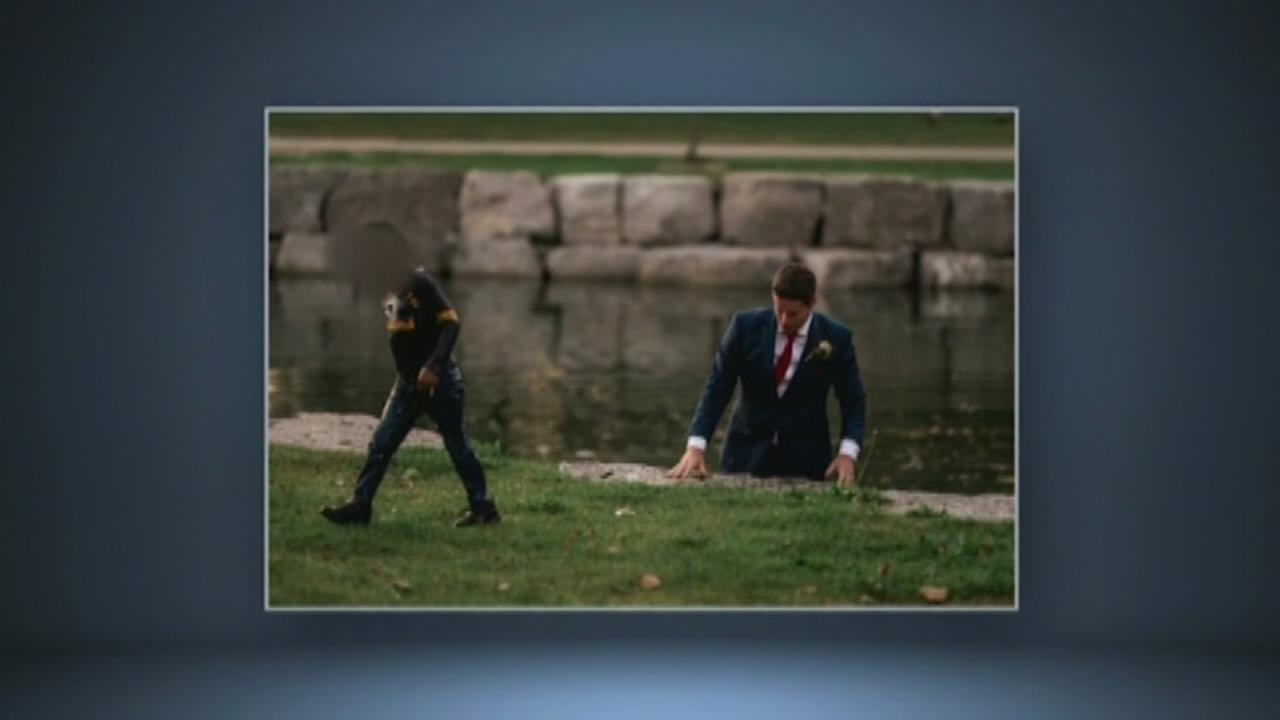 Groom pulls boy from water